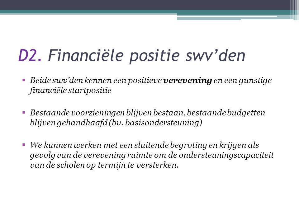 D2. Financiële positie swv'den  Beide swv'den kennen een positieve verevening en een gunstige financiële startpositie  Bestaande voorzieningen blijv