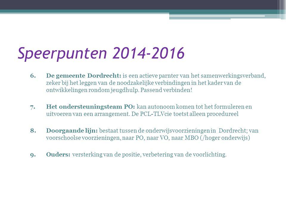Speerpunten 2014-2016 6.De gemeente Dordrecht: is een actieve parnter van het samenwerkingsverband, zeker bij het leggen van de noodzakelijke verbindi