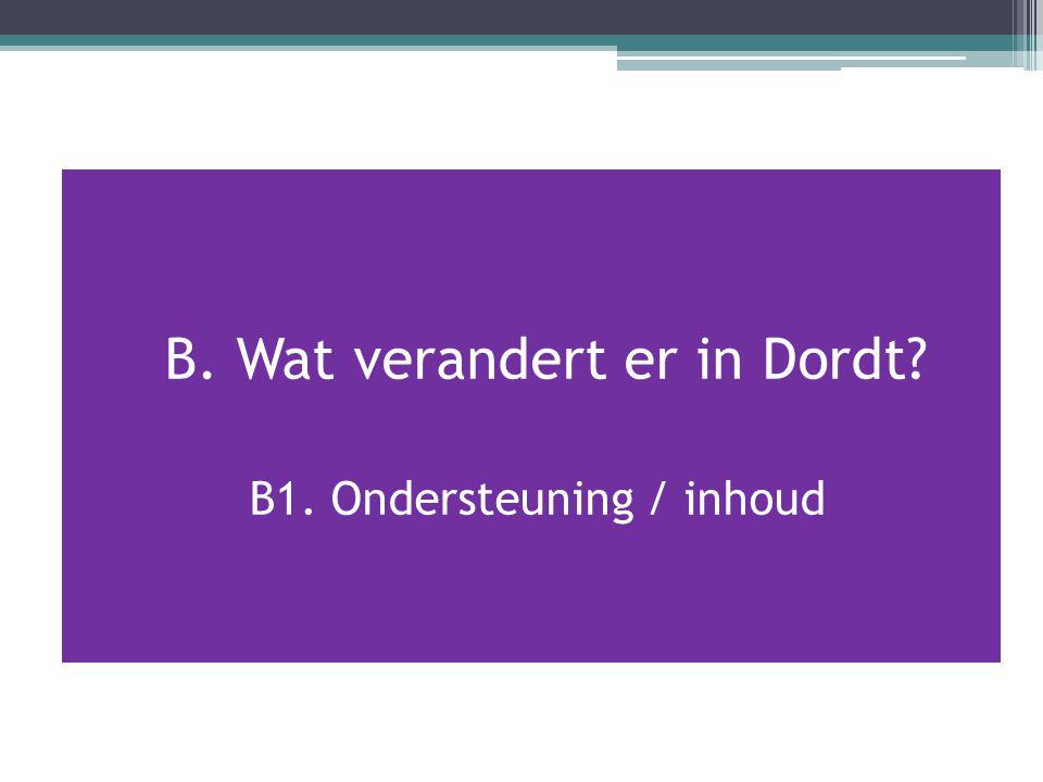 B. Wat verandert er in Dordt? B1. Ondersteuning / inhoud