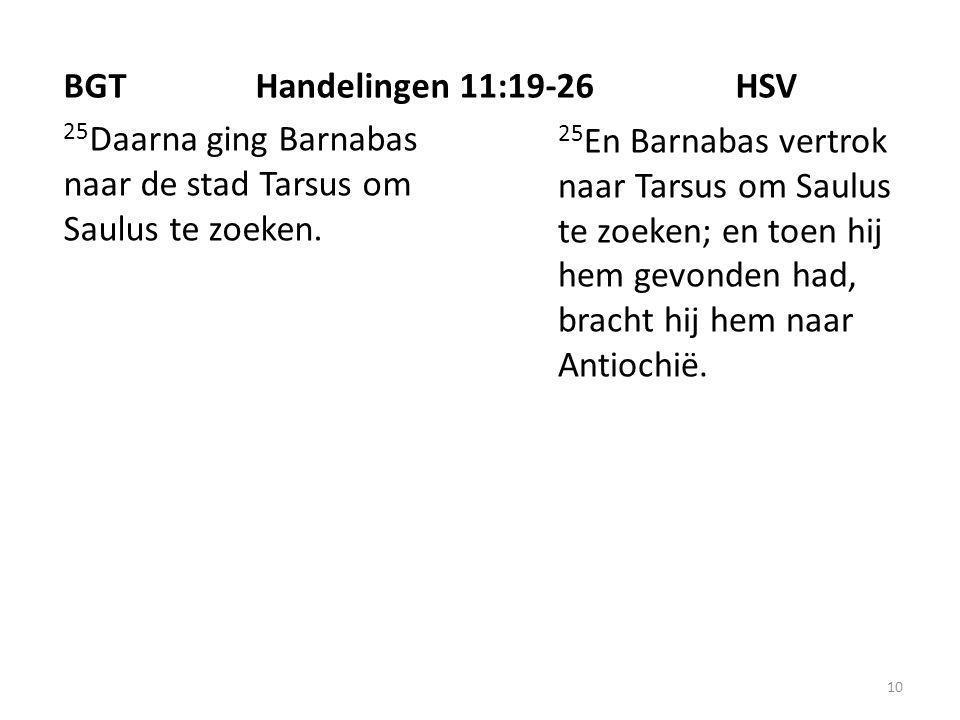 10 25 Daarna ging Barnabas naar de stad Tarsus om Saulus te zoeken.