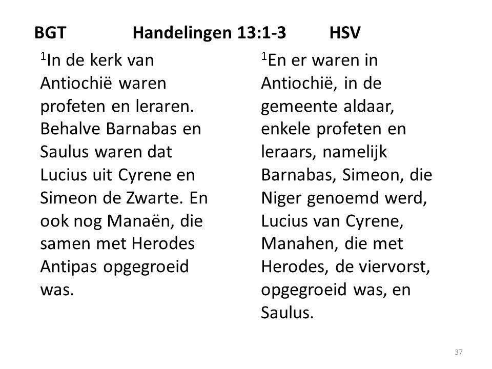 37 BGTHandelingen 13:1-3HSV 1 In de kerk van Antiochië waren profeten en leraren.