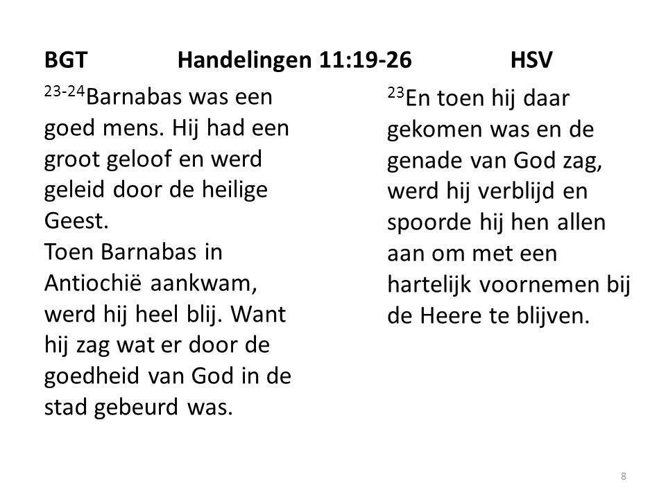 8 23-24 Barnabas was een goed mens. Hij had een groot geloof en werd geleid door de heilige Geest.