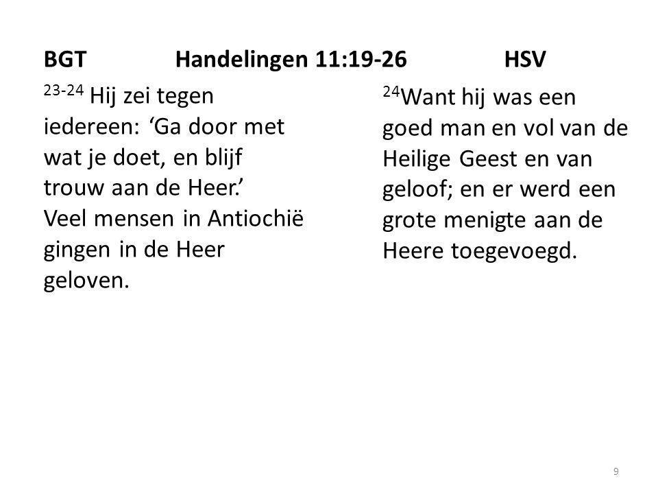 9 23-24 Hij zei tegen iedereen: 'Ga door met wat je doet, en blijf trouw aan de Heer.' Veel mensen in Antiochië gingen in de Heer geloven.