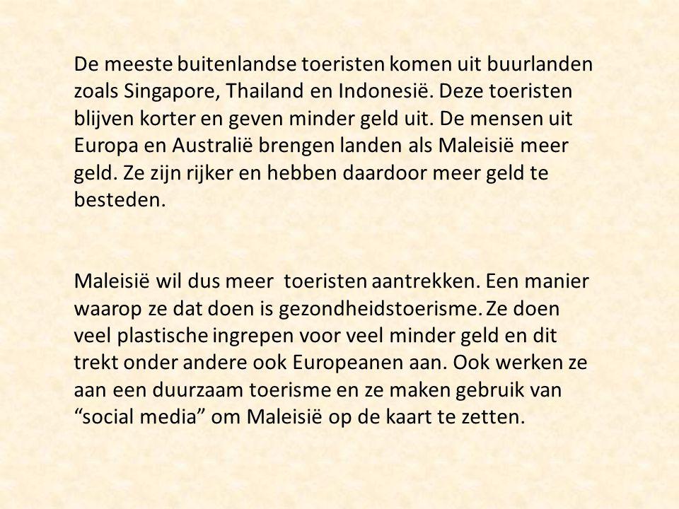 De meeste buitenlandse toeristen komen uit buurlanden zoals Singapore, Thailand en Indonesië.
