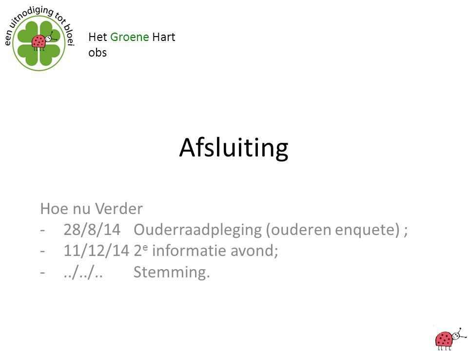 Het Groene Hart obs Afsluiting Hoe nu Verder -28/8/14 Ouderraadpleging (ouderen enquete) ; -11/12/142 e informatie avond; -../../..Stemming.