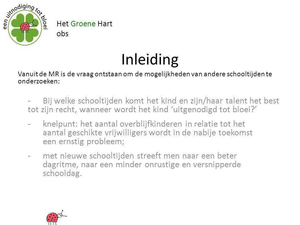 Het Groene Hart obs Inleiding - Bij welke schooltijden komt het kind en zijn/haar talent het best tot zijn recht, wanneer wordt het kind 'uitgenodigd
