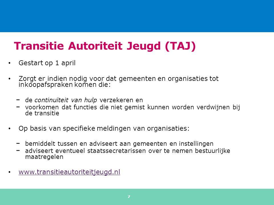 Transitie Autoriteit Jeugd (TAJ) Gestart op 1 april Zorgt er indien nodig voor dat gemeenten en organisaties tot inkoopafspraken komen die: de continu