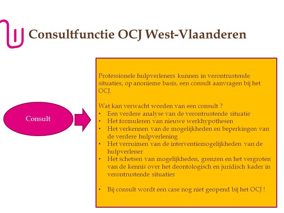 WWW.JONGERENWELZIJN.BE P Consultfunctie OCJ West-Vlaanderen Consult Professionele hulpverleners kunnen in verontrustende situaties, op anonieme basis, een consult aanvragen bij het OCJ.