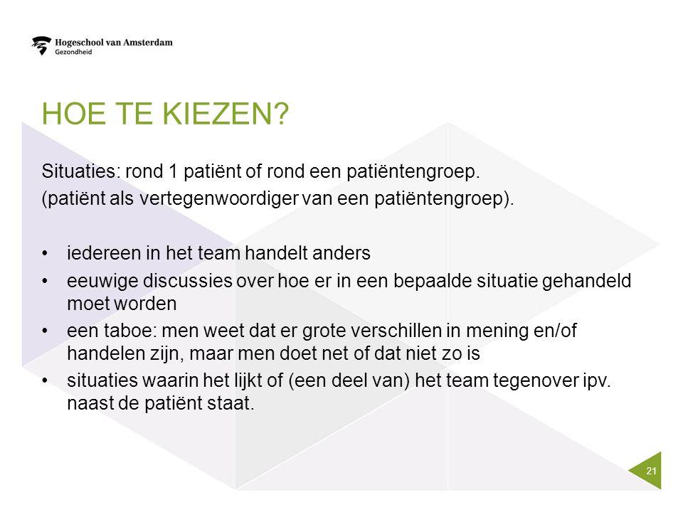 HOE TE KIEZEN? Situaties: rond 1 patiënt of rond een patiëntengroep. (patiënt als vertegenwoordiger van een patiëntengroep). iedereen in het team hand