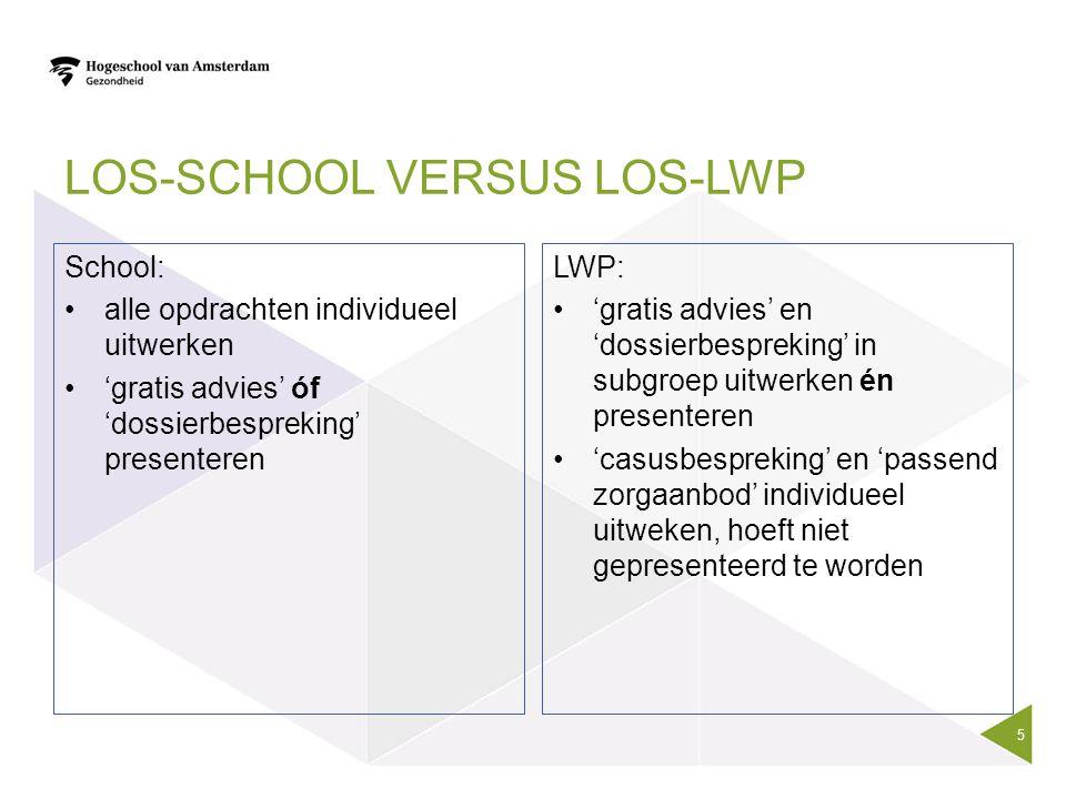 LOS-SCHOOL VERSUS LOS-LWP School: alle opdrachten individueel uitwerken 'gratis advies' óf 'dossierbespreking' presenteren LWP: 'gratis advies' en 'do