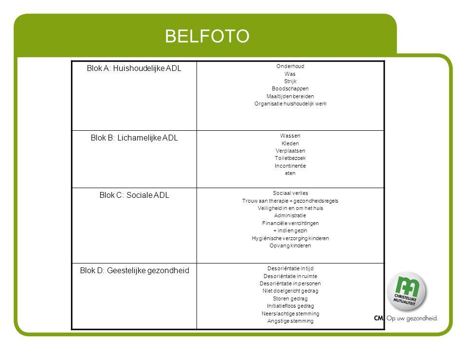 BELFOTO Blok A: Huishoudelijke ADL Onderhoud Was Strijk Boodschappen Maaltijden bereiden Organisatie huishoudelijk werk Blok B: Lichamelijke ADL Wasse