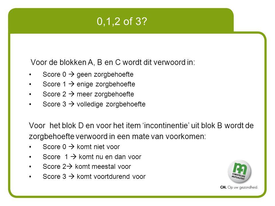 0,1,2 of 3? Voor de blokken A, B en C wordt dit verwoord in: Score 0  geen zorgbehoefte Score 1  enige zorgbehoefte Score 2  meer zorgbehoefte Scor