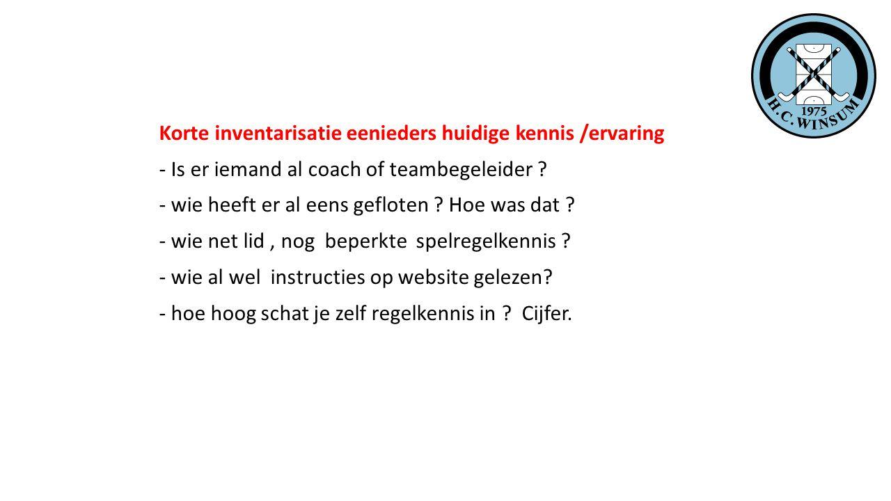 Korte inventarisatie eenieders huidige kennis /ervaring - Is er iemand al coach of teambegeleider .