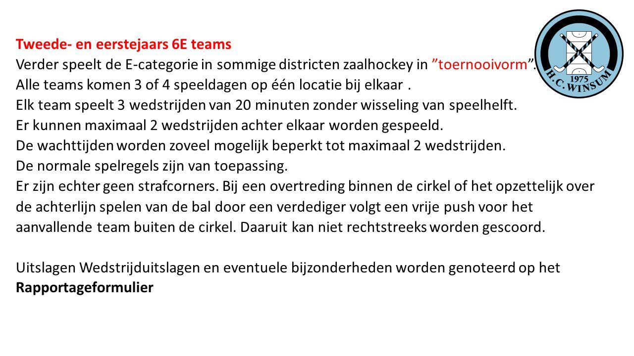 Tweede- en eerstejaars 6E teams Verder speelt de E-categorie in sommige districten zaalhockey in toernooivorm .