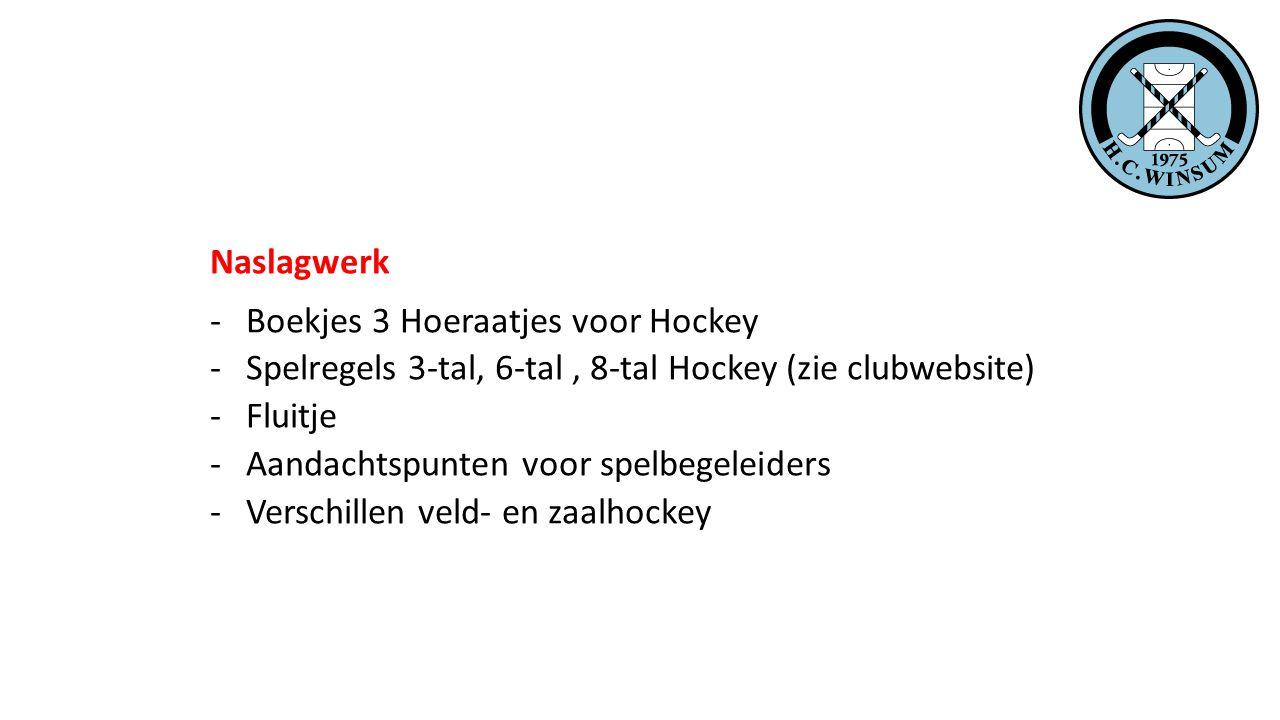 Naslagwerk -Boekjes 3 Hoeraatjes voor Hockey -Spelregels 3-tal, 6-tal, 8-tal Hockey (zie clubwebsite) -Fluitje -Aandachtspunten voor spelbegeleiders -Verschillen veld- en zaalhockey