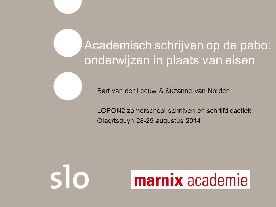 Academisch schrijven op de pabo: onderwijzen in plaats van eisen Bart van der Leeuw & Suzanne van Norden LOPON2 zomerschool schrijven en schrijfdidact