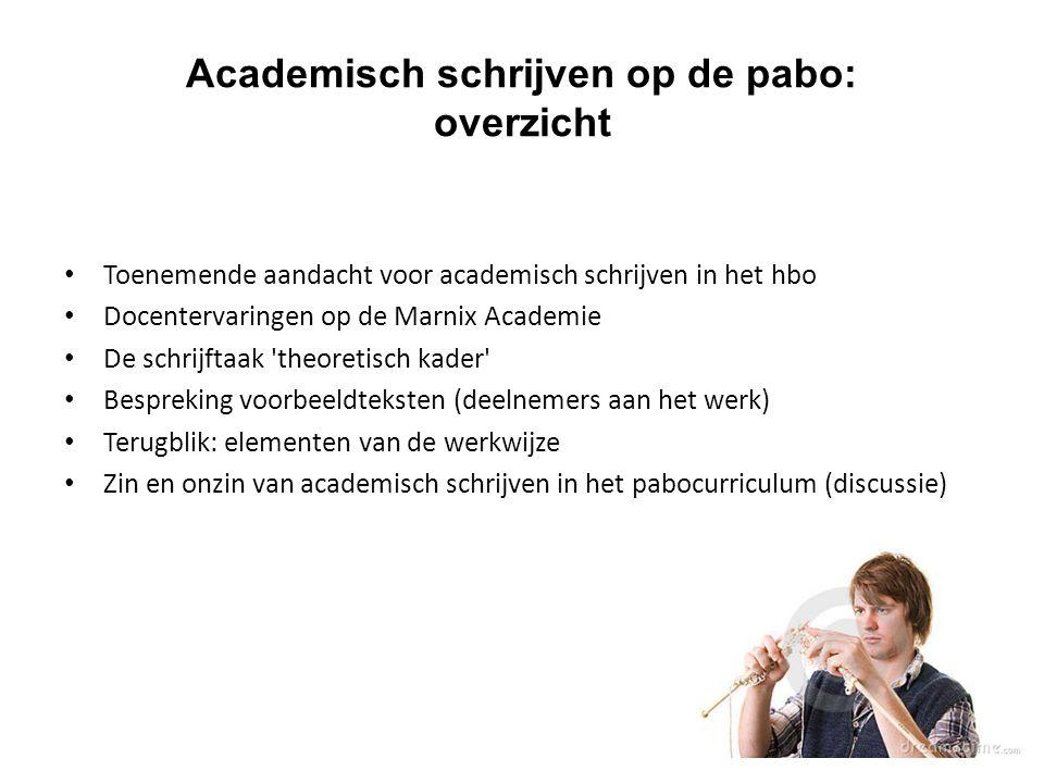 Toenemende aandacht voor academisch schrijven in het hbo Docentervaringen op de Marnix Academie De schrijftaak 'theoretisch kader' Bespreking voorbeel