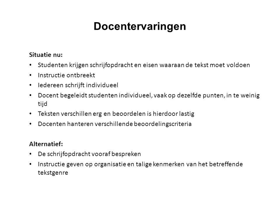 Situatie nu: Studenten krijgen schrijfopdracht en eisen waaraan de tekst moet voldoen Instructie ontbreekt Iedereen schrijft individueel Docent begele