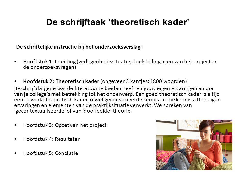 De schrijftaak 'theoretisch kader' De schriftelijke instructie bij het onderzoeksverslag: Hoofdstuk 1: Inleiding (verlegenheidssituatie, doelstelling