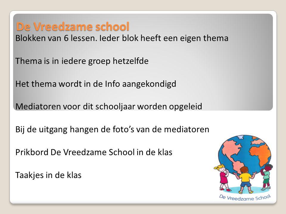 De Vreedzame school Blokken van 6 lessen. Ieder blok heeft een eigen thema Thema is in iedere groep hetzelfde Het thema wordt in de Info aangekondigd