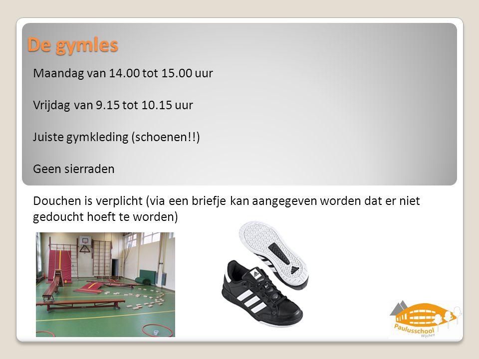 De gymles Maandag van 14.00 tot 15.00 uur Vrijdag van 9.15 tot 10.15 uur Juiste gymkleding (schoenen!!) Geen sierraden Douchen is verplicht (via een b