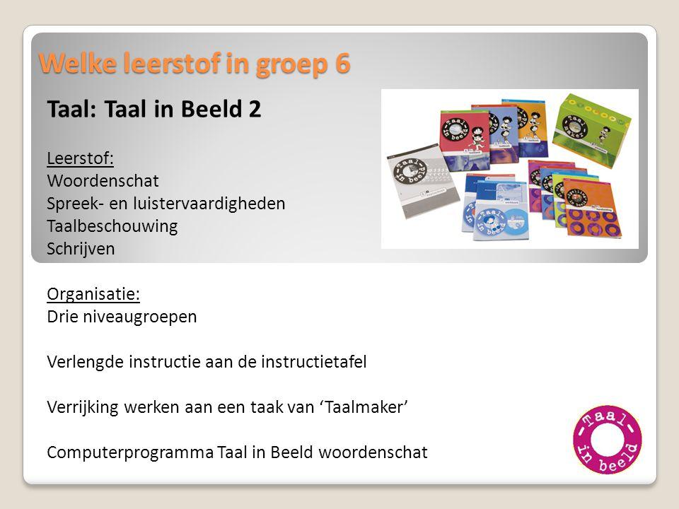 Welke leerstof in groep 6 Taal: Taal in Beeld 2 Leerstof: Woordenschat Spreek- en luistervaardigheden Taalbeschouwing Schrijven Organisatie: Drie nive