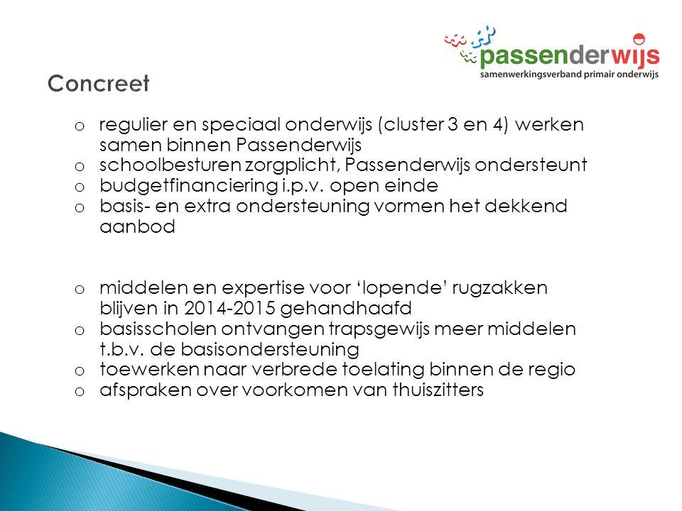 o regulier en speciaal onderwijs (cluster 3 en 4) werken samen binnen Passenderwijs o schoolbesturen zorgplicht, Passenderwijs ondersteunt o budgetfin