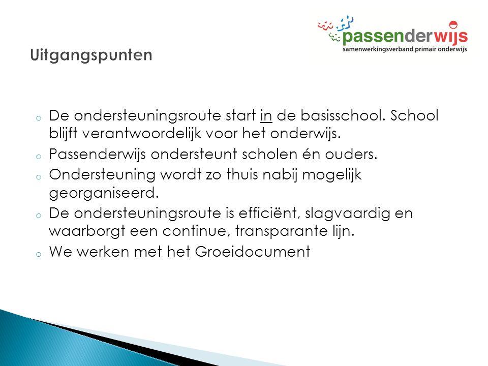 o De ondersteuningsroute start in de basisschool. School blijft verantwoordelijk voor het onderwijs. o Passenderwijs ondersteunt scholen én ouders. o