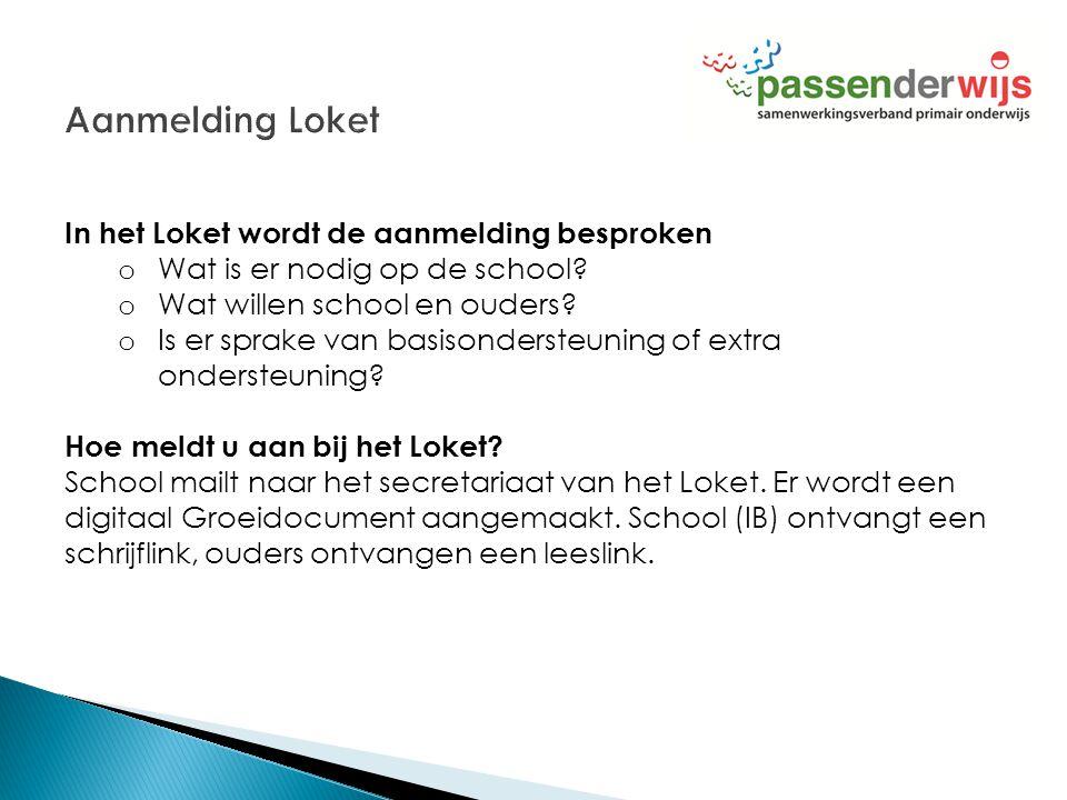 In het Loket wordt de aanmelding besproken o Wat is er nodig op de school? o Wat willen school en ouders? o Is er sprake van basisondersteuning of ext
