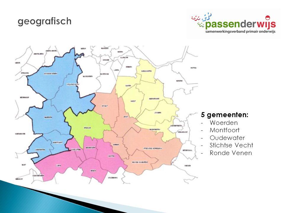 5 gemeenten: -Woerden -Montfoort -Oudewater -Stichtse Vecht -Ronde Venen