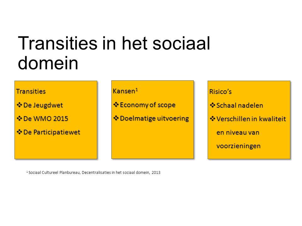 Transities in het sociaal domein Transities  De Jeugdwet  De WMO 2015  De Participatiewet Transities  De Jeugdwet  De WMO 2015  De Participatiew