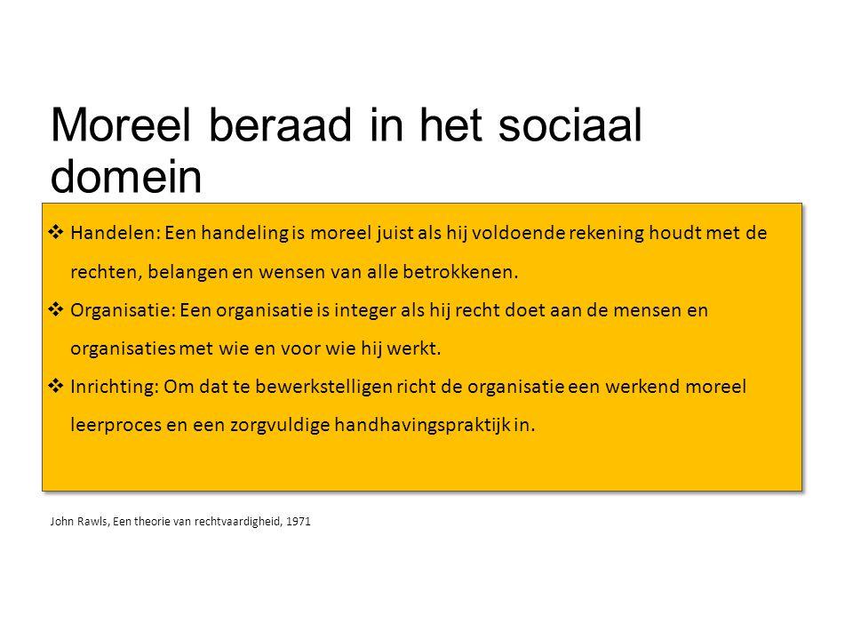 Moreel leren in het sociaal domein  Moreel beraad  Versterkt de morele oordeelskracht in het sociaal domein  Integere organisaties  … de basis voor integere organisaties in het sociaal domein  Rechtvaardige instituties  … het fundament voor de rechtvaardigheid van het sociaal domein
