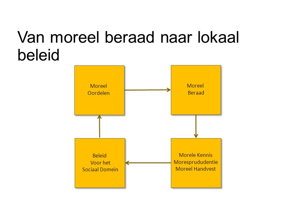 De rol van het lokale bestuur  Monitoren  Zorg dat er een moreel leerproces in het sociaal domein plaats vindt  Kennis ontwikkelen  Verzamel en bewerk de uitkomsten van het morele leerproces  Beleid maken  Gebruik de morele kennis voor het vormen van beleid moreel domein