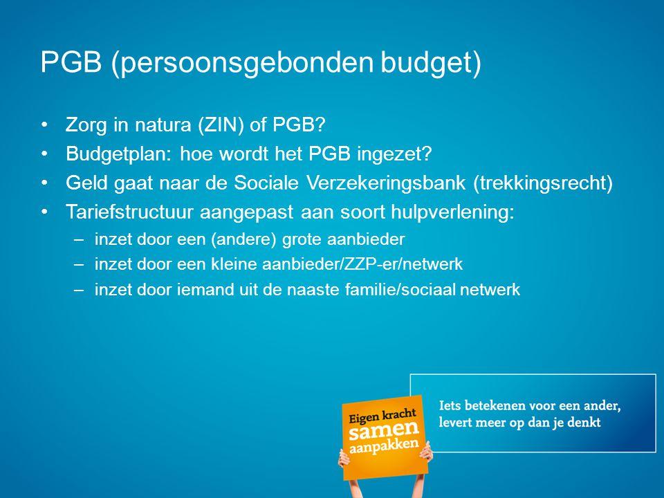 PGB (persoonsgebonden budget) Zorg in natura (ZIN) of PGB? Budgetplan: hoe wordt het PGB ingezet? Geld gaat naar de Sociale Verzekeringsbank (trekking