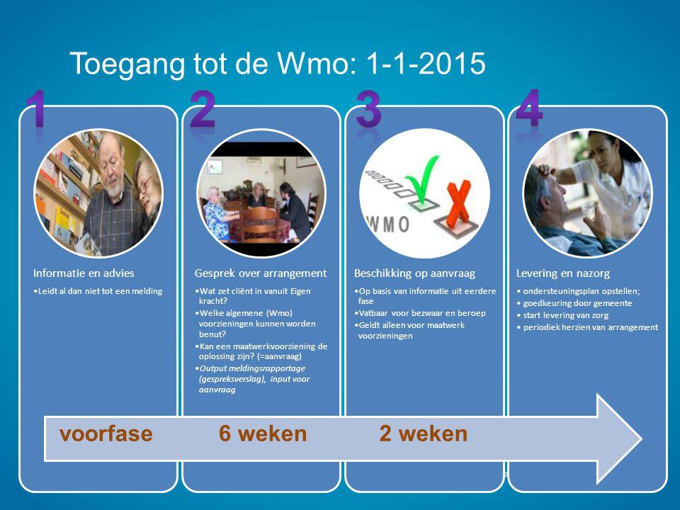 Toegang tot de Wmo: 1-1-2015 Gemeenten Leudal, Nederweert, Weert Dia 17 Informatie en advies Leidt al dan niet tot een melding Gesprek over arrangemen