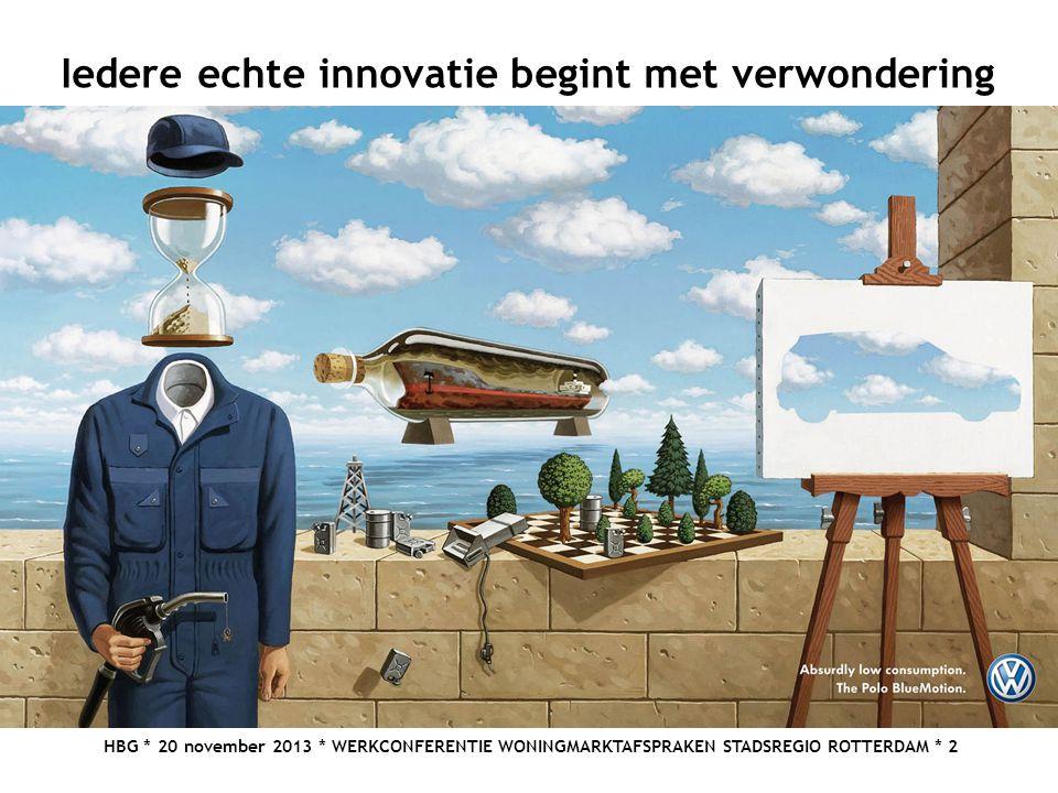 HBG * 20 november 2013 * WERKCONFERENTIE WONINGMARKTAFSPRAKEN STADSREGIO ROTTERDAM * 2 Iedere echte innovatie begint met verwondering
