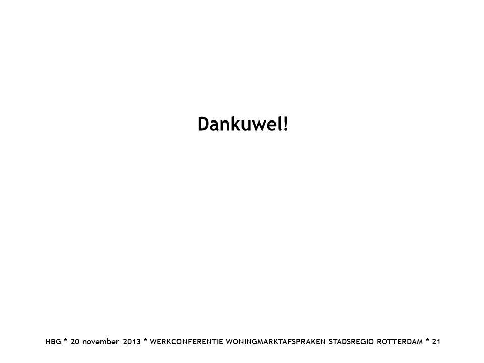 HBG * 20 november 2013 * WERKCONFERENTIE WONINGMARKTAFSPRAKEN STADSREGIO ROTTERDAM * 21 Dankuwel!