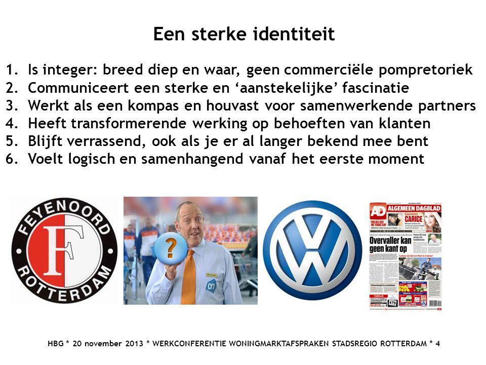 HBG * 20 november 2013 * WERKCONFERENTIE WONINGMARKTAFSPRAKEN STADSREGIO ROTTERDAM * 4 Een sterke identiteit 1.