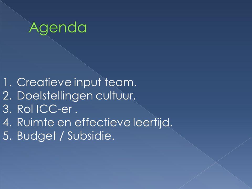1.Creatieve input team. 2.Doelstellingen cultuur. 3.Rol ICC-er. 4.Ruimte en effectieve leertijd. 5.Budget / Subsidie.