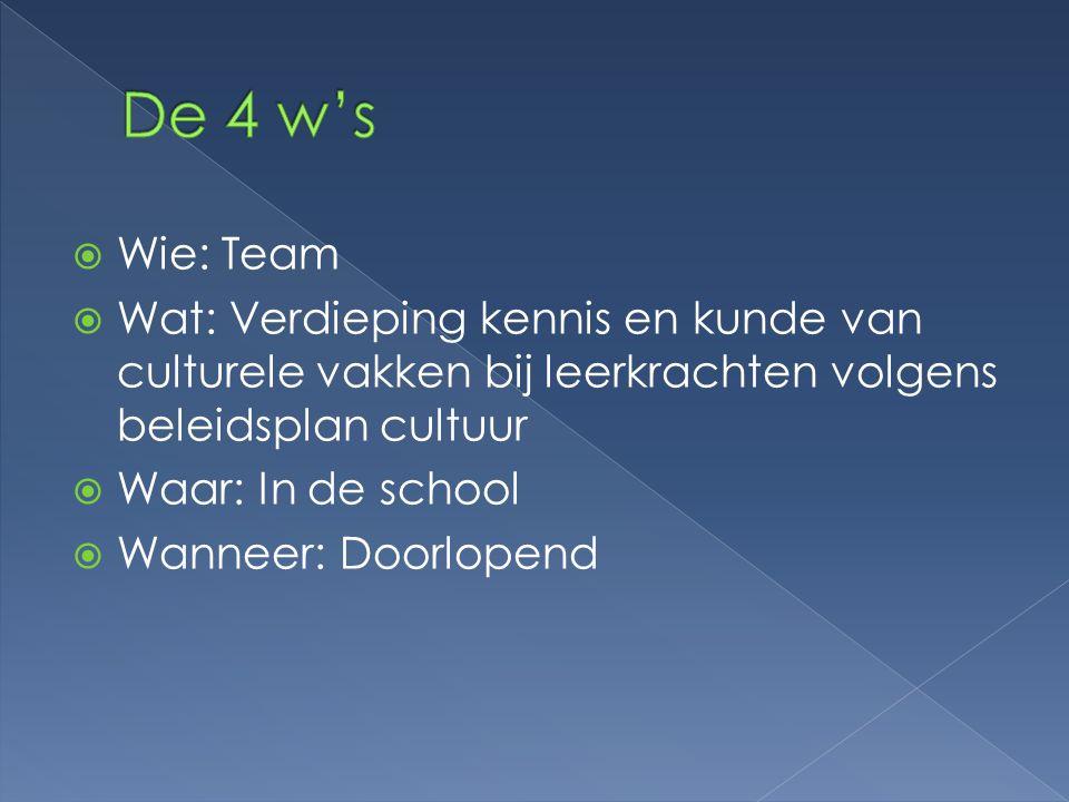  Wie: Team  Wat: Verdieping kennis en kunde van culturele vakken bij leerkrachten volgens beleidsplan cultuur  Waar: In de school  Wanneer: Doorlo