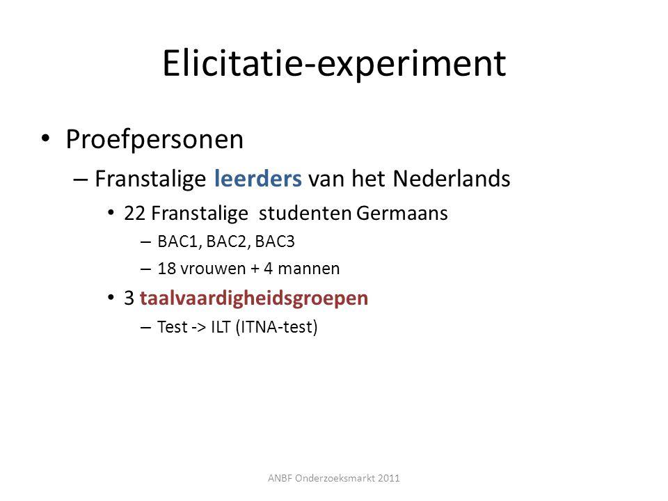 Elicitatie-experiment Proefpersonen – Franstalige leerders van het Nederlands 22 Franstalige studenten Germaans – BAC1, BAC2, BAC3 – 18 vrouwen + 4 ma