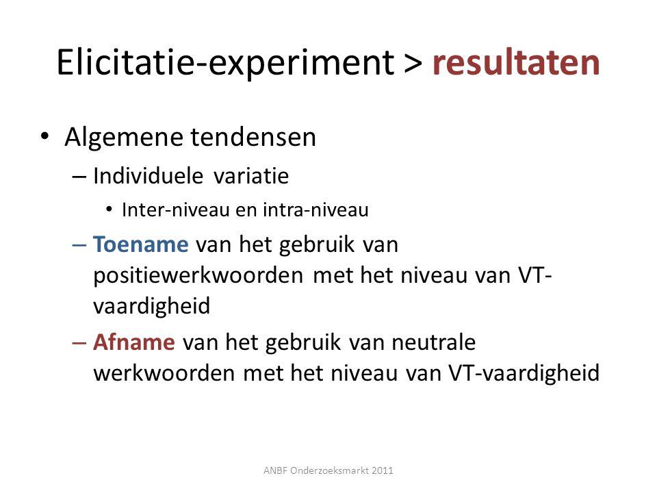 Elicitatie-experiment > resultaten Algemene tendensen – Individuele variatie Inter-niveau en intra-niveau – Toename van het gebruik van positiewerkwoo
