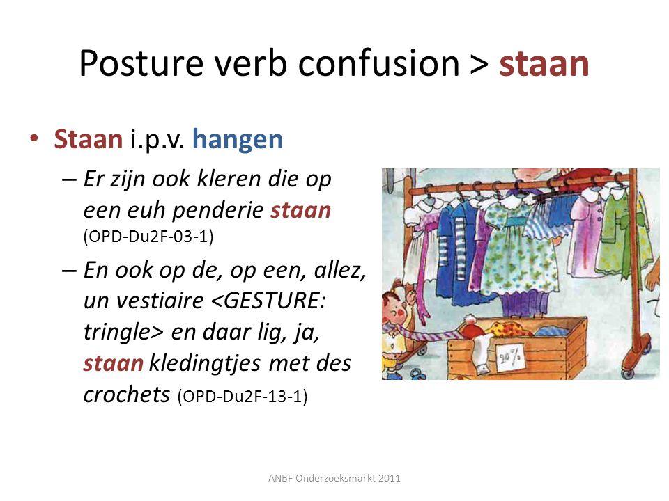 Posture verb confusion > staan Staan i.p.v. hangen – Er zijn ook kleren die op een euh penderie staan (OPD-Du2F-03-1) – En ook op de, op een, allez, u