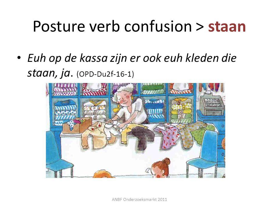 Euh op de kassa zijn er ook euh kleden die staan, ja. (OPD-Du2f-16-1) ANBF Onderzoeksmarkt 2011 Posture verb confusion > staan