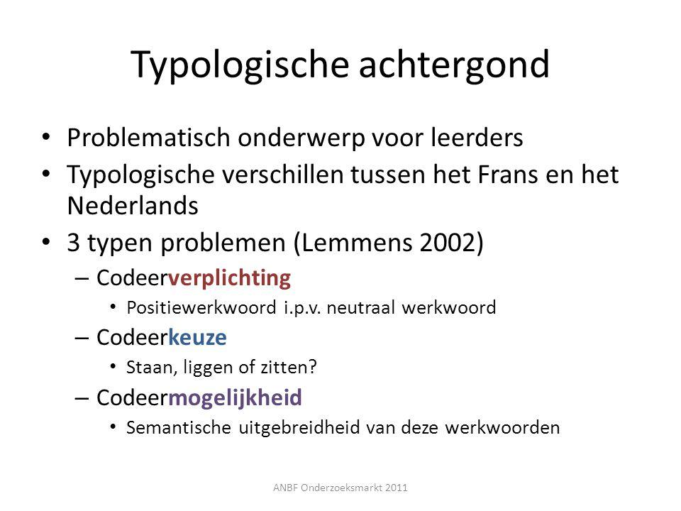 Problematisch onderwerp voor leerders Typologische verschillen tussen het Frans en het Nederlands 3 typen problemen (Lemmens 2002) – Codeerverplichtin