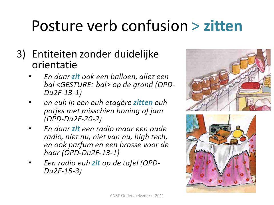 Posture verb confusion > zitten 3)Entiteiten zonder duidelijke orientatie En daar zit ook een balloen, allez een bal op de grond (OPD- Du2F-13-1) en e