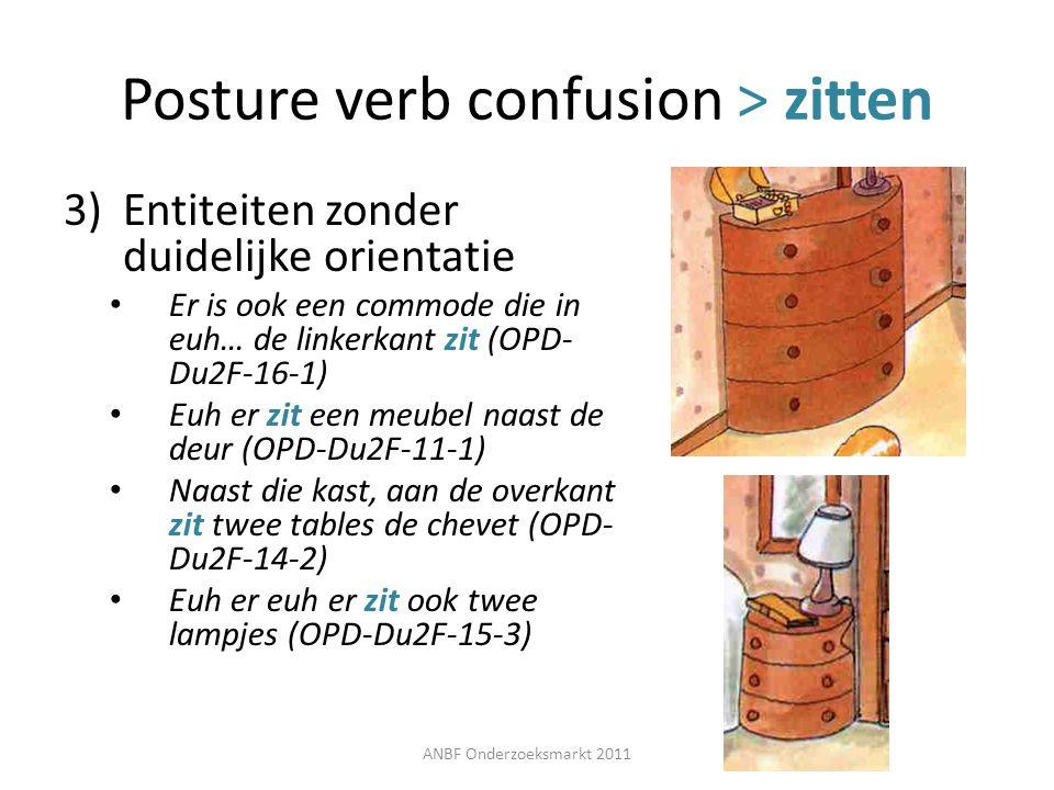 Posture verb confusion > zitten 3)Entiteiten zonder duidelijke orientatie Er is ook een commode die in euh… de linkerkant zit (OPD- Du2F-16-1) Euh er