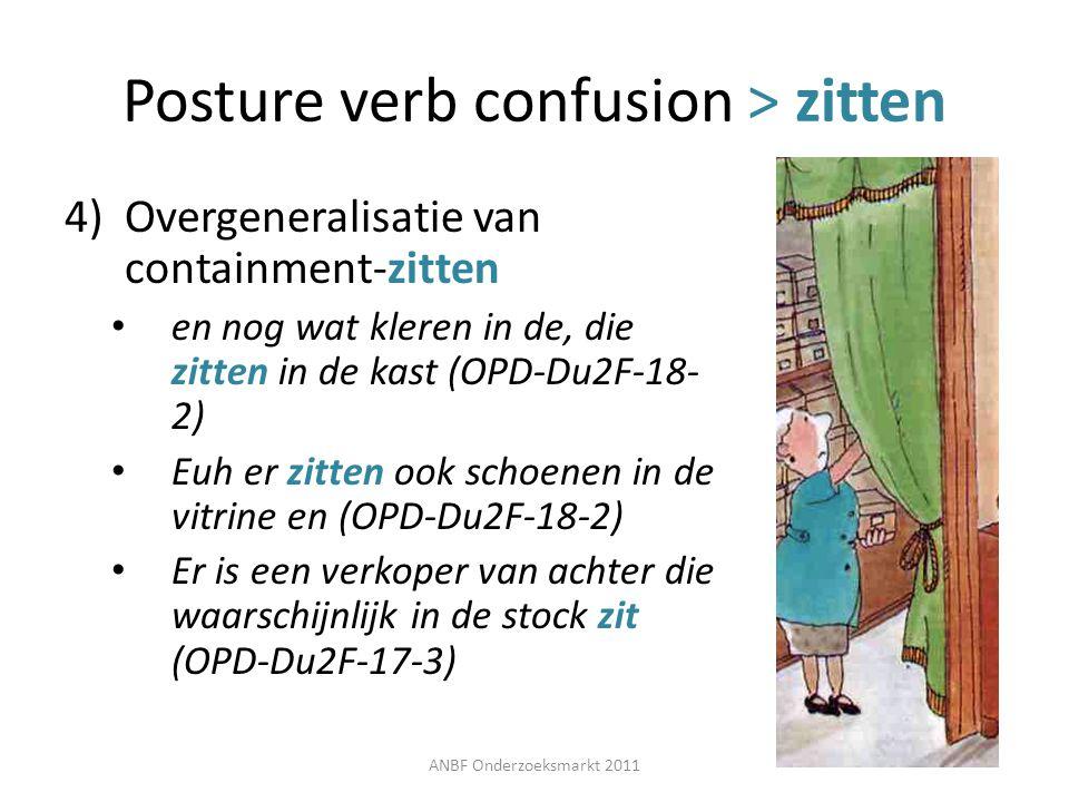 Posture verb confusion > zitten 4)Overgeneralisatie van containment-zitten en nog wat kleren in de, die zitten in de kast (OPD-Du2F-18- 2) Euh er zitt