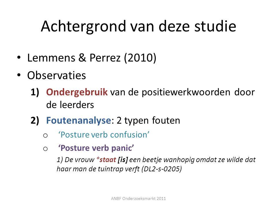 Elicitatie-experiment > proefpersonen Franstalige leerders van het Nederlands – 22 Franstalige studenten Germaans BAC1, BAC2, BAC3 18 vrouwen + 4 mannen – 3 taalvaardigheidsgroepen Test -> ILT (ITNA-test) Controlegroep – 12 moedertaalsprekers (Vlamingen) 9 vrouwen + 3 mannen ANBF Onderzoeksmarkt 2011