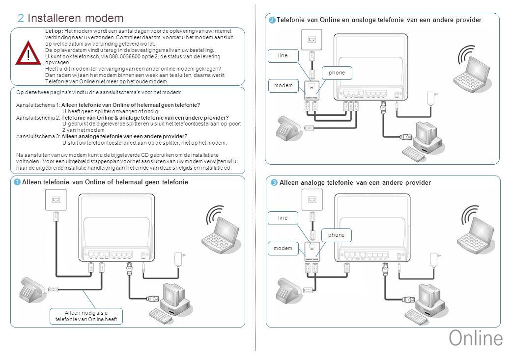 3 Betekenis lampjes en knopjes modem Als deze 3 lampjes branden heeft het modem een verbinding met het internet Lan 1 t/m 4: Deze lampjes branden als er een ethernetkabel aangesloten zit op het desbetreffende poortje op de achterkant van het modem, en knipperen als er dataverkeer is.